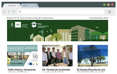 Captura del boletín Informativo de la Facultad de Ciencias Agropecuarias, FCA Comunica!