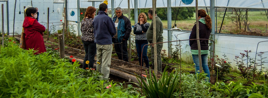 Profesionales dictando la jornada de floricultura en el invernadero del Campo Escuela FCA