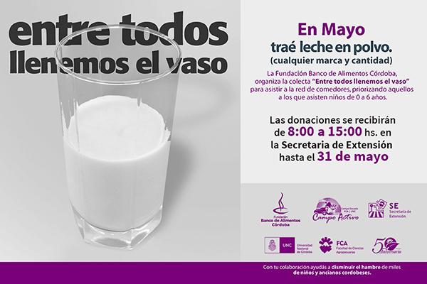 """Para que a ningún niño le falte la leche, """"Entre todos llenemos el vaso"""""""