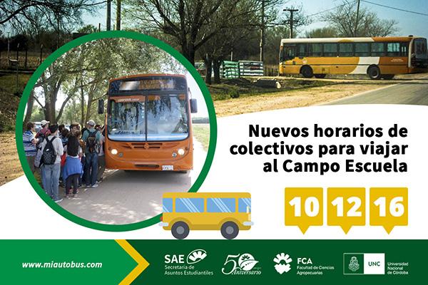 Nuevos horarios de colectivos para viajar al Campo Escuela