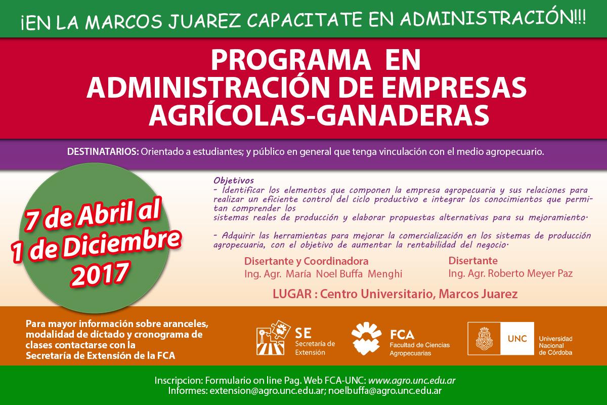 Programa en Administración de empresas agrícolas-ganaderas
