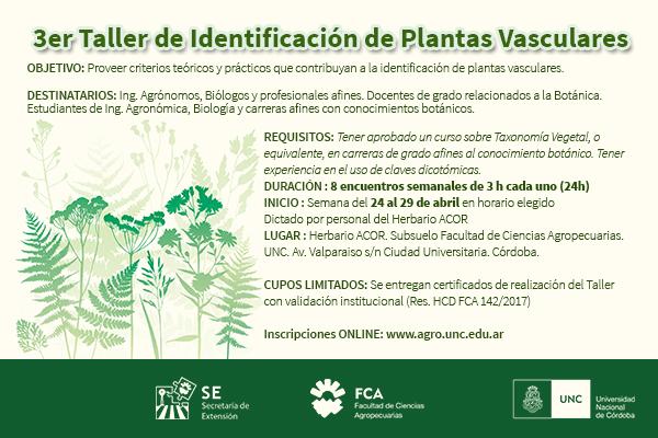 3er Taller de Identificación de Plantas Vasculares