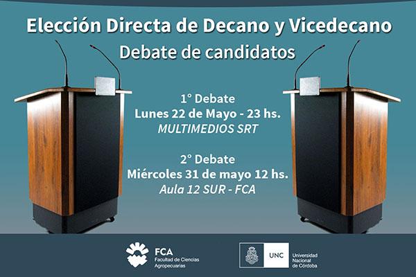 Elección Directa de Decano y Vicedecano – Debate de candidatos