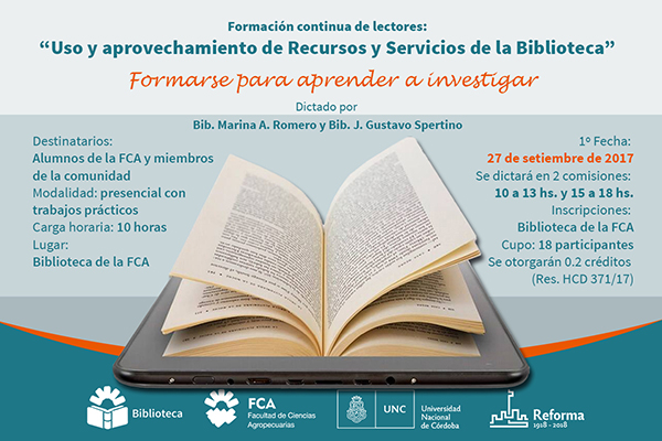"""Formación continua de lectores: """"Uso y aprovechamiento de Recursos y Servicios de la Biblioteca"""""""