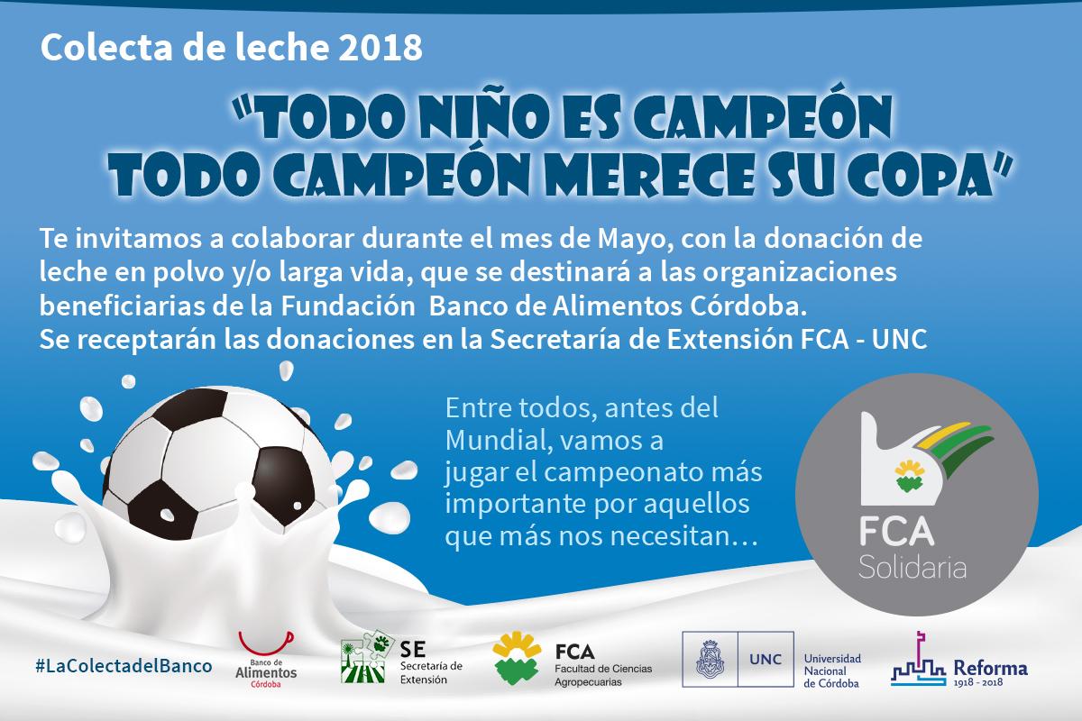 La FCA se suma a la Colecta de leche 2018 del Banco de Alimentos