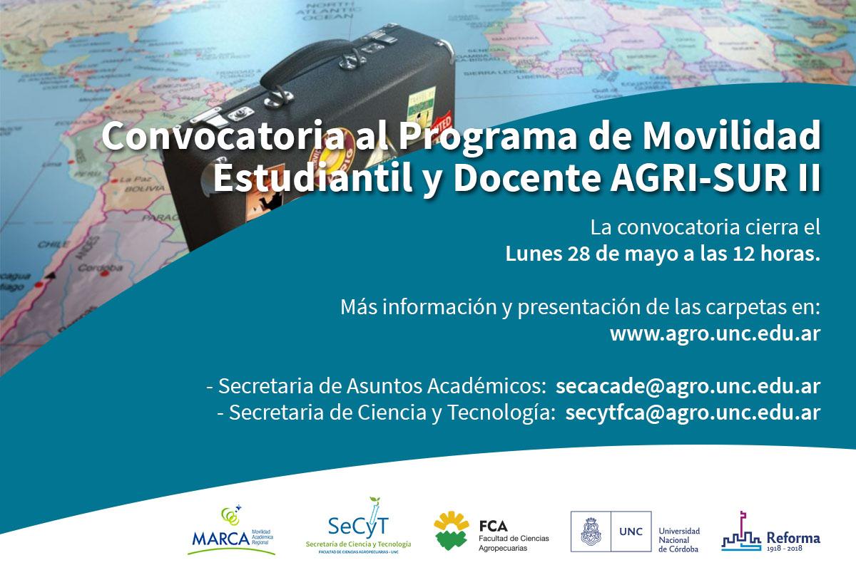 Convocatoria al Programa de Movilidad Estudiantil y Docente AGRI-SUR II