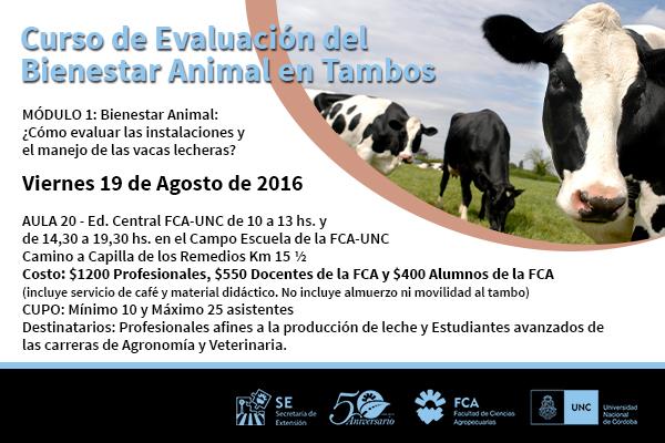 Curso de Evaluación del Bienestar Animal en Tambos