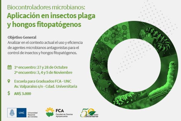 Biocontroladores microbianos: aplicación en insectos plaga y hongos fitopatógenos.