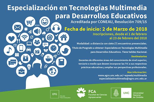Especialización en Tecnología Multimedia para Desarrollos Educativos