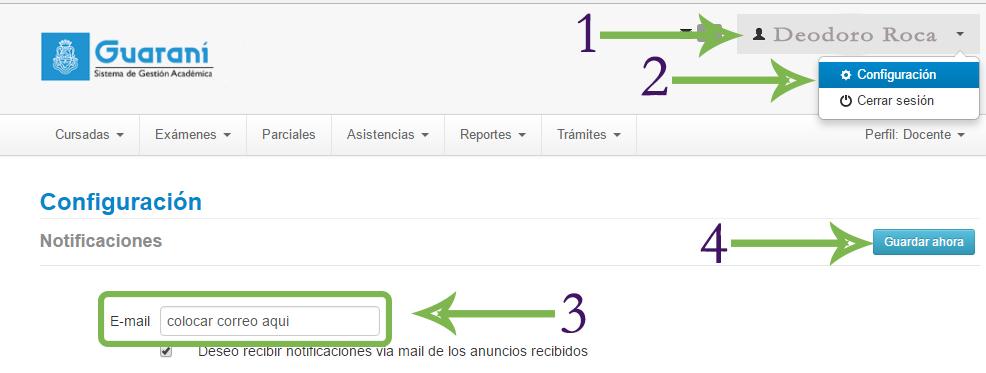 cambiar mi correo en guarani