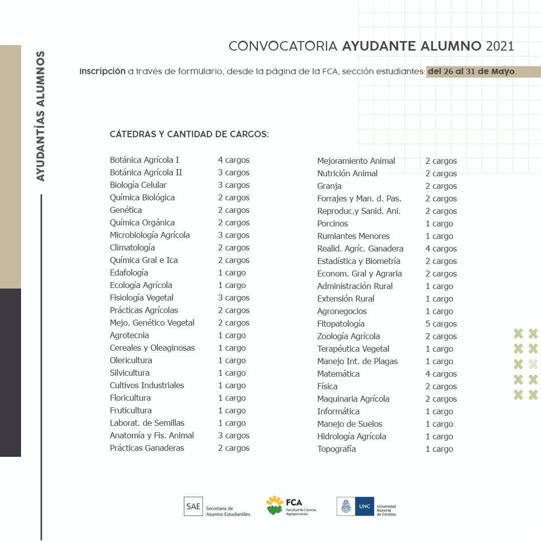 Ayudantías Alumnos 2021 CARGOS - SAE