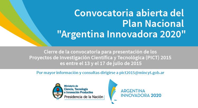 """Convocatoria abierta del Plan Nacional """"Argentina Innovadora 2020″"""
