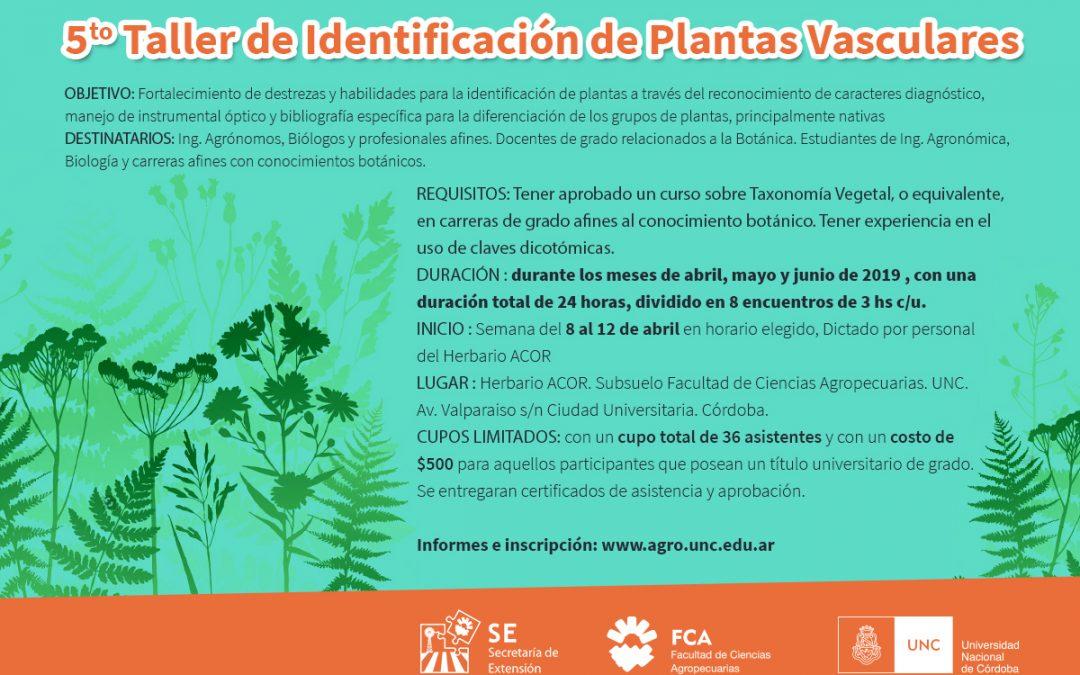 5º TALLER DE IDENTIFICACIÓN DE PLANTAS VASCULARES DEL HERBARIO ACOR