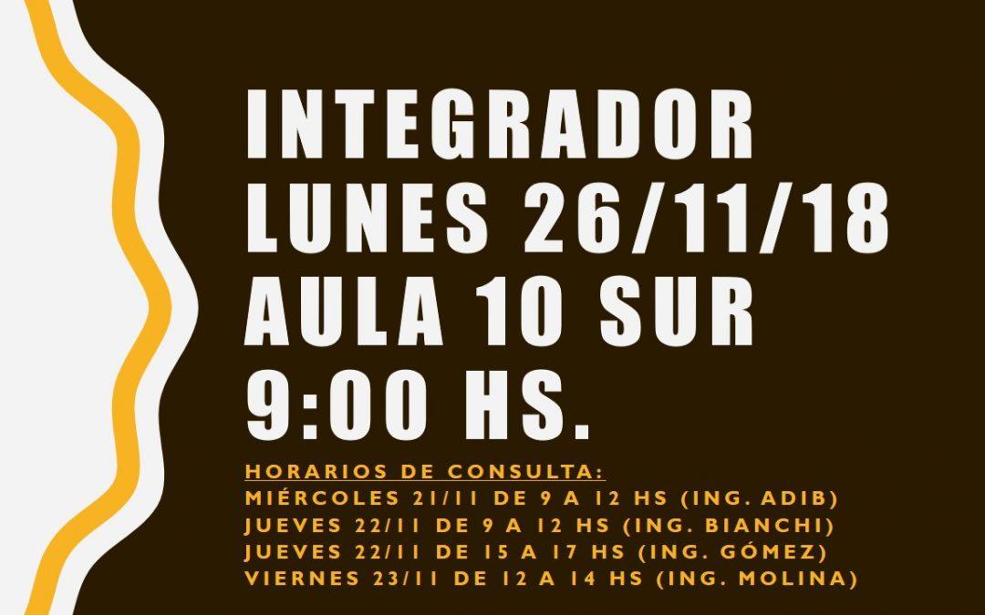 ¡INFORMACIÓN SOBRE EL INTEGRADOR!